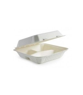 Lunch Box 3-3C - Hinged - Sugarcane Fibre - Carton of 200